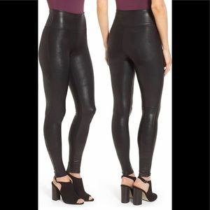New - Spanx Size S Faux Leather Leggings Black